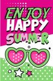 Appréciez la bannière heureuse d'été, rétro illustration lumineuse de vecteur d'affiche de style d'art de bruit illustration de vecteur