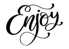 Appréciez la citation inspirée au sujet du bonheur Expression moderne de calligraphie illustration de vecteur