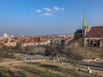 Appréciez la vieille ville de bel Erfurt image libre de droits