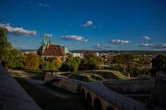 Appréciez la vieille ville de bel Erfurt images libres de droits