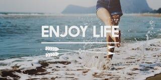 Appréciez le concept délicieux de bonheur agréable de plaisir de la vie Photographie stock libre de droits