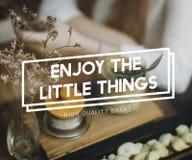 Appréciez le concept délicieux de petit bonheur agréable de choses photo libre de droits