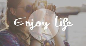 Appréciez le concept de bonheur de satisfaction de plaisir de la vie image libre de droits