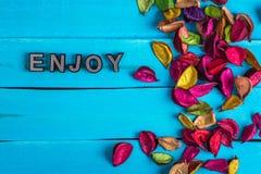 Appréciez le mot sur le bois bleu avec la fleur image stock