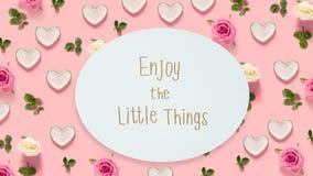 Appréciez le petit message de choses avec des roses et des coeurs images stock