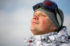 appréciez le snowboarder de verticale photographie stock