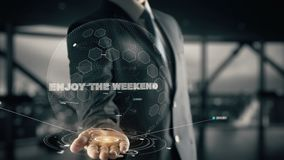 Appréciez le week-end avec le concept d'homme d'affaires d'hologramme photo stock