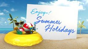 'Appréciez ! les vacances d'été' préparent pour voyager pour le tableau blanc d'avant de vacances d'été illustration stock