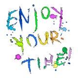 Appréciez votre carte de voeux de temps colorée illustration libre de droits
