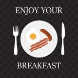Appréciez votre illustration de vecteur de message de ` de petit déjeuner illustration de vecteur