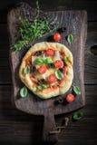 Appréciez votre pizza faite de fromage, tomates et herbes photos libres de droits