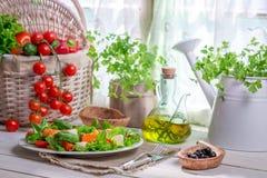 Appréciez votre salade de ressort avec des saumons Image stock