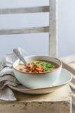 Appréciez votre soupe à champignons photo stock