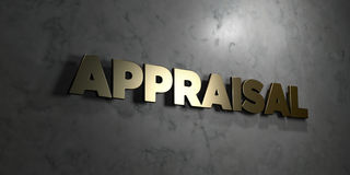 Appraisal - Gold text on black background - 3D rendered royalty free stock picture. This image can be used for an online website banner ad or a print postcard Royalty Free Stock Photos