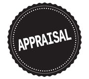 APPRAISAL text, on black sticker stamp. Royalty Free Stock Photo