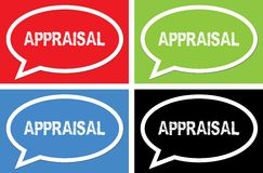 APPRAISAL text, on ellipse speech bubble sign. APPRAISAL text, on ellipse speech bubble sign, in color set Royalty Free Stock Photography