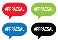 APPRAISAL text, on rectangle speech bubble sign. APPRAISAL text, on rectangle speech bubble sign, in color set Stock Photography