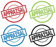 APPRAISAL text, on round simple stamp sign. APPRAISAL text, on round simple stamp sign, in color set Stock Images