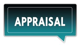 APPRAISAL on turquoise to black gradient square speech bubble. Illustrations Royalty Free Stock Image