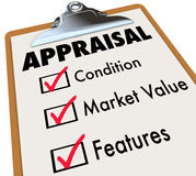 Appraisal Words Checklist Clipboard Factors Condition Market Val. Appraisal word on a clipboard checklist with major assessment factors including condition Stock Photos