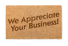 We Appreciate Your Business Welcome Mat On White Royalty Free Stock Photos