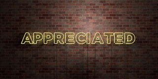 APPRECIATED - fluorescent Neon tube Sign on brickwork - Front view - 3D rendered royalty free stock picture Stock Image