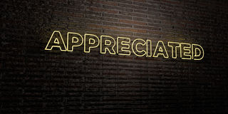 APPRECIATED -Realistic Neon Sign on Brick Wall background - 3D rendered royalty free stock image Stock Photo