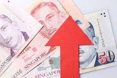 Appreciatie van de dollar van Singapore Stock Foto's