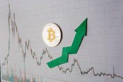 Appreciatie van virtueel geld bitcoin De groene pijl en zilveren Bitcoin op document forex de classificatie van de grafiekindex g royalty-vrije stock afbeeldingen
