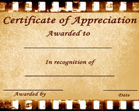 Appreciation. Certificate of appreciation with some stains on it Royalty Free Stock Photography