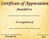 Appreciation. Certificate of appreciation with some stains on it Stock Photo