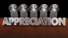 Appreciation Awards Trophies Thanking Good Peformance 3d Animati Royalty Free Stock Photography