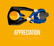 Appreciation banner. Top view partners handshaking Royalty Free Stock Images