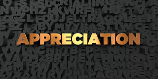 Appreciation - Gold text on black background - 3D rendered royalty free stock picture. This image can be used for an online website banner ad or a print Royalty Free Stock Image