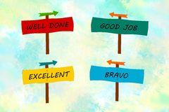 Appreciation messages in indicator signs. Appreciation messages in colorful indicator signs for kids Stock Photo