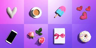 Appreciation theme with roses, smartphone, coffee, and gift box