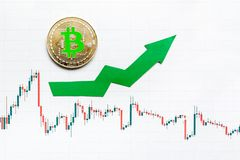 Appreciation of virtual money bitcoin. Green arrow and silver Bitcoin on paper forex chart index rating go up on exchange market royalty free stock photo