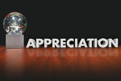 Appreciation Word Award Trophy Prize Employee Recognition. Appreciation word in 3d letters beside a trophy, prize, award or reward honoring or recognizing an royalty free stock image