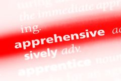 Apprehensive. Word in a dictionary.  concept stock photo