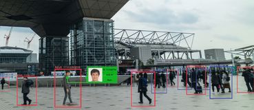 Apprendimento automatico di Iot con l'essere umano e riconoscimento degli oggetti che usano l'intelligenza artificiale alla c ana fotografia stock libera da diritti