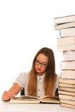 Apprendimento caucasico asiatico sollecitato della studentessa Immagine Stock Libera da Diritti