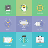 Apprendimento creativo ed icone piane di immaginazione illustrazione di stock