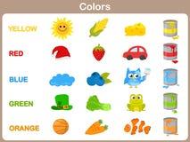 Apprendimento dei colori dell'oggetto per i bambini Fotografie Stock Libere da Diritti