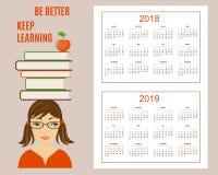 Apprendimento del calendario americano per l'anno 2018 della parete, 2019 Immagine Stock Libera da Diritti