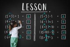 Apprendimento del concetto d'istruzione di calcolo di matematica di istruzione Fotografia Stock Libera da Diritti