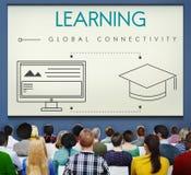 Apprendimento del concetto globale del grafico di tecnologia di connettività fotografia stock libera da diritti