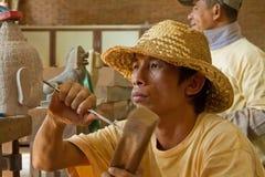 Apprendimento dell'arte di scultura di pietra Immagini Stock Libere da Diritti