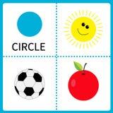 Apprendimento della forma del cerchio Sun, palla di calcio e mela Carte educative per i bambini Progettazione piana Fotografie Stock Libere da Diritti