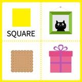 Apprendimento della forma quadrata Immagine della pagina, contenitore di regalo e biscotto Carte educative per i bambini Progetta illustrazione vettoriale