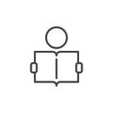 Apprendimento della linea icona, segno di vettore del profilo illustrazione di stock